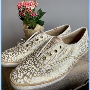 Keds gold floral sneakers